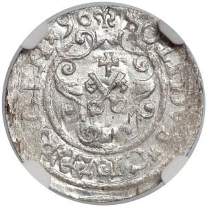 Zygmunt III Waza, Szeląg Ryga 1596 - RIGENx - NGC MS63