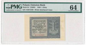 1 złoty 1940 -A- PMG 64