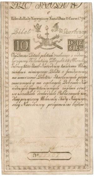 10 złotych 1794 -C- napisowy znak wodny