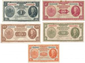 Holenderskie Indie - 50 centów i 1,10,25 i 50 guldenów 1943