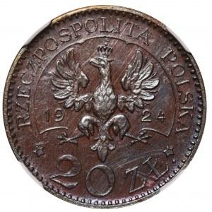 PRÓBA 20 złotych 1924 Monogram BRĄZ - NGC MS64 BN