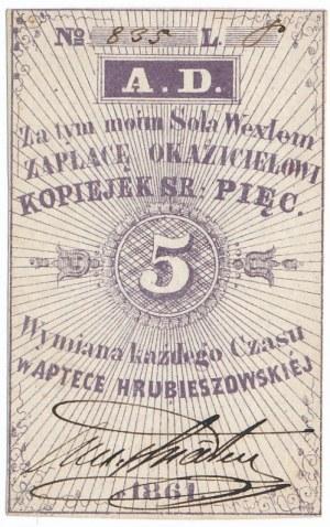 Apteka Hrubieszowska - 5 kopiejek srebrem 1861 z podpisem