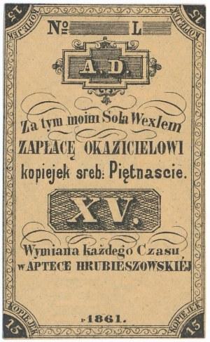Apteka Hrubieszowska - 15 kopiejek 1861 - blankiet
