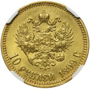 Rosja, Mikołaj II - 10 rubli 1899 AГ Petersburg - NGC AU