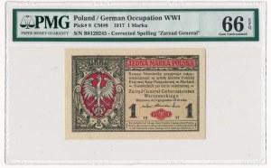 1 marka 1916 Generał -B- PMG 66 EPQ