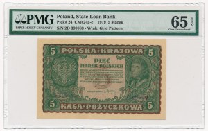 5 marek 1919 - II Serja D - PMG 65 EPQ