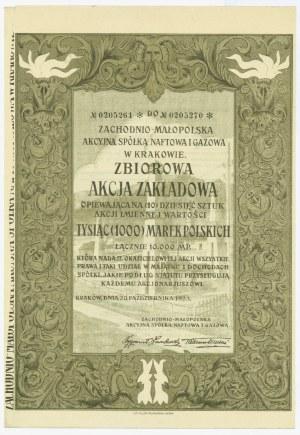 Zachodnio-Małopolska Akcyjna Spółka Naftowa i Gazowa w Krakowie - 10 x 1.000 marek