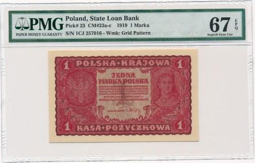 1 marka 1919 - I Serja CJ - PMG 67 EPQ