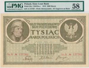 1.000 marek 1919 -2 x Ser.A -PMG 58 - bardzo rzadka odmiana w niespotykanym stanie