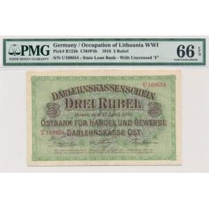 Poznań 3 ruble 1916 -U- krótka klauzula - PMG 66 EPQ