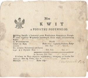 Kwit opłaty z podymnego 1794 rok - efektowny znak wodny