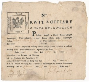 Kwit ofiary Dwudziestego Grosza z Dóbr Duchownych - Lublin