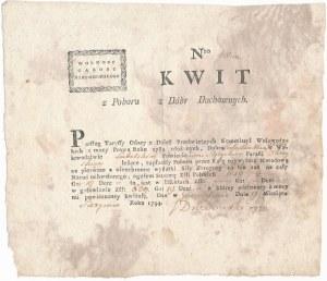 Kwit z poboru z Dóbr Duchownych 1794 - Nr. 1000 - pięknie zachowany