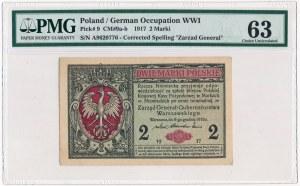 2 marki 1916 Generał -A- PMG 63 - rzadka odmiana
