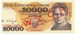 20.000 złotych 1989 A 0000000 No.0726