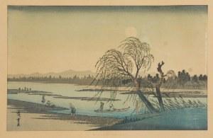 Ando HIROSHIGE (UTAGAWA) (1797-1858), Postacie nad rzeką Tama