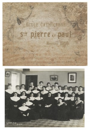 Księga z pamiątkowymi fotografiami Ecole Catholique Saints Pierre et Paul. Moskwa 1910.