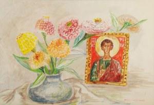 Maja BEREZOWSKA (1898-1978), Martwa natura z kwiatami i ikoną