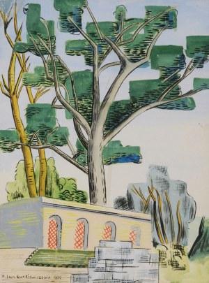 Maria Ewa ŁUNKIEWICZ-ROGOYSKA (1895-1967), Pejzaż z drzewami i architekturą, 1930