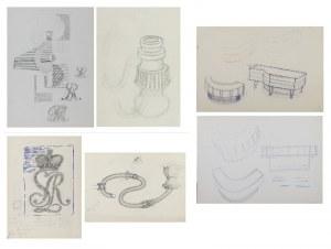 Tadeusz GRONOWSKI (1894-1990), Zestaw 9 rysunków oraz odcisk pieczątki