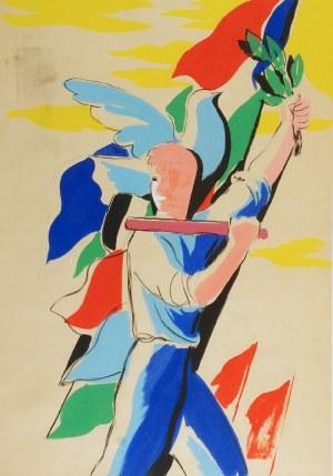Tadeusz GRONOWSKI (1894-1990), Kroczący młodzieniec z młotem w ręku, l. 50-te XX w.