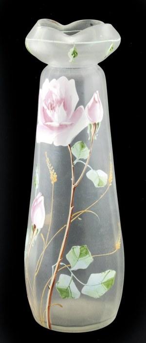 Wazon szklany z motywem kwiatowym