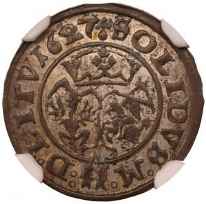 Zygmunt III Waza - szeląg Wilno 1627 - NGC MS61