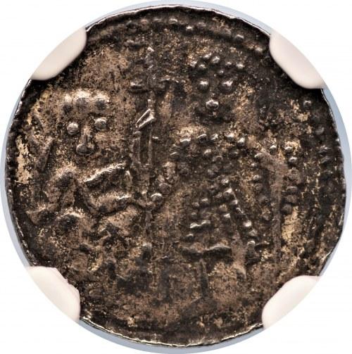 Bolesław III Krzywousty (1107-1138) - denar - Biskup i rycerz - NGC AU details
