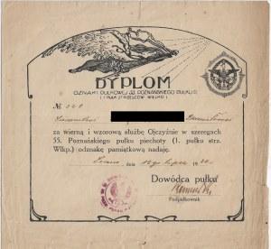 DYPLOM za wierną i wzorową służbę w szeregach 55 Poznańskiego Pułku Piechoty