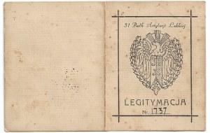 Legitymacja do odznaki 31 Pułk Artylerii Lekkiej