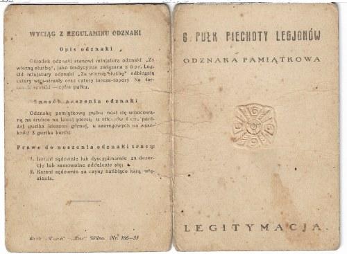 Legitymacja do odznaki 6 Pułk Piechoty Legionów