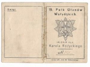 Legitymacja na odznakę 19 Pułku Ułanów Wołyńskich