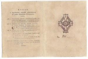 Legitymacja uprawniająca do noszenia Odznaki Pamiątkowej 44 Pułku Strzelców Kresowych