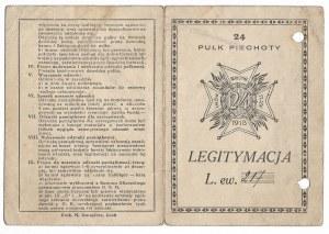 Legitymacja do Odznaki 24 Pułku Piechoty