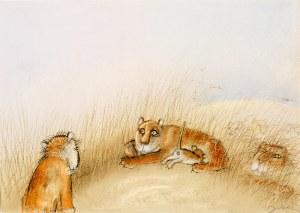 """Józef Wilkoń (Ur. 1930), ilustracja do książki """"Hugo der Babylöwe"""" Hermanna Moersa"""
