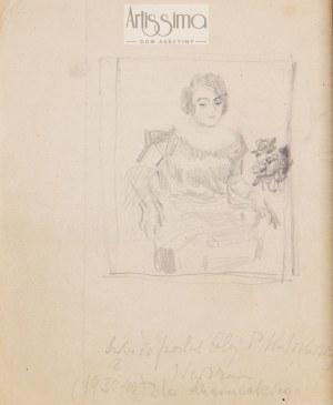 Józef Mehoffer (1869–1946), Szkic do portretu pani Kulikowskiej (praca dwustronna), l. 1930.