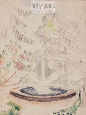 Zofia Lewicka (Sonia Lewitska) (1880–1937), Paw przy fontannie