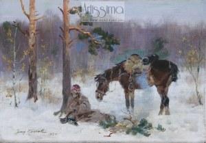 Jerzy Kossak (1886–1955), Ranny kirasjer, 1934