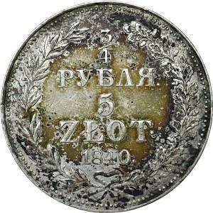 Zabór rosyjski, 3/4 Rubla-5 złotych 1840 MW Warszawa
