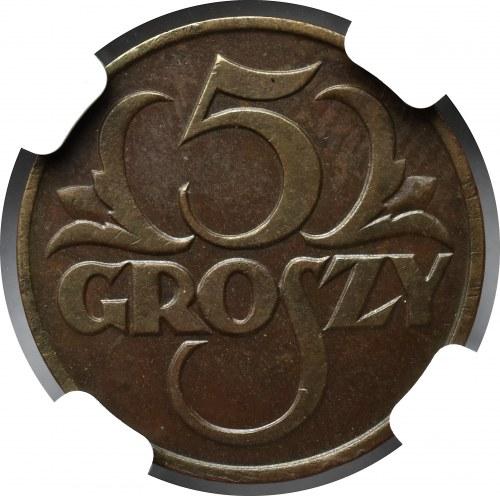 II Rzeczpospolita, 5 groszy 1925 - NGC MS62 BN