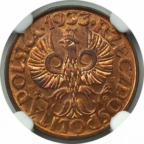 II Rzeczpospolita, 2 grosze 1933 - NGC MS65+ RB