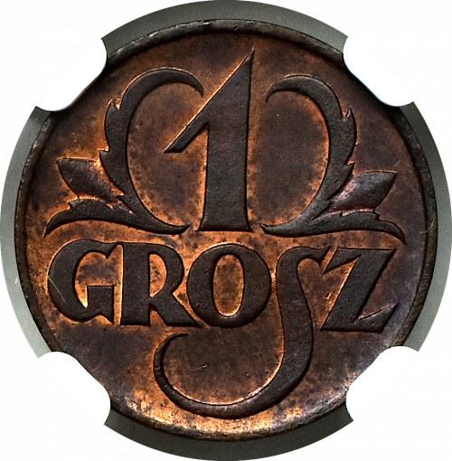 II Rzeczpospolita, 1 grosz 1923 - NGC MS64 RB