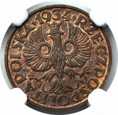 II Rzeczpospolita, 2 grosze 1934 - NGC MS65 BN