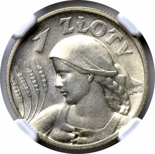 II Rzeczpospolita, 1 Złoty 1925 Kobieta kłosy - NGC MS64