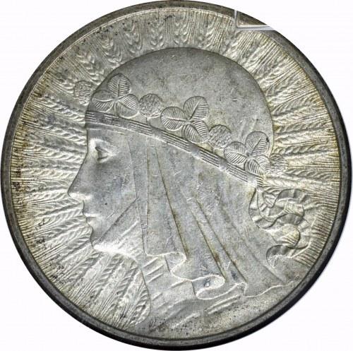 II Rzeczpospolita, 10 złotych 1932 Głowa kobiety - GCN MS65