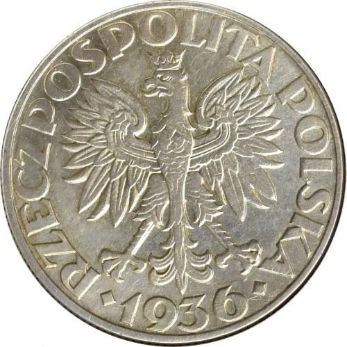II Rzeczpospolita, 5 złotych 1936 Okręt - GCN MS63