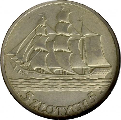 II Rzeczpospolita, 5 złotych 1936 Okręt - GCN MS62