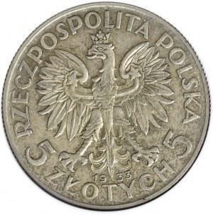 II Rzeczpospolita, 5 złotych 1933, Głowa kobiety - GCN AU58