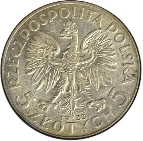 II Rzeczpospolita, 5 złotych 1933, Głowa kobiety - GCN MS64