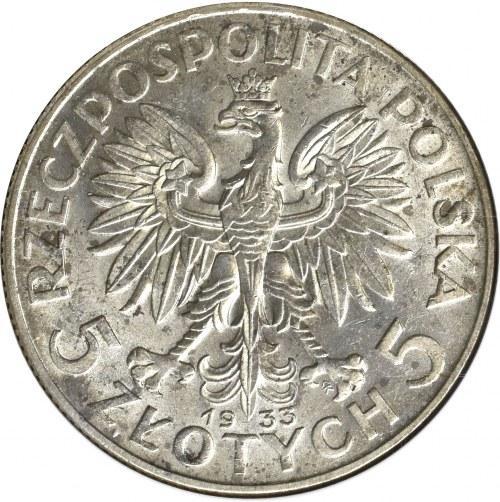 II Rzeczpospolita, 5 złotych 1933, Głowa kobiety - GCN MS65